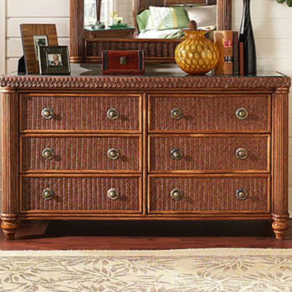 Harborside 6 Drawer Double Dresser With Glass Top