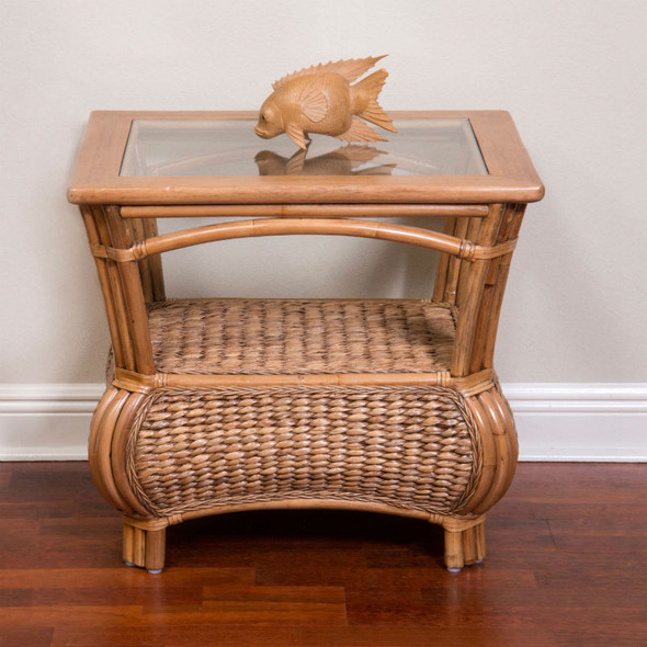 Havana End Table With Glass Top in Antique Honey finish