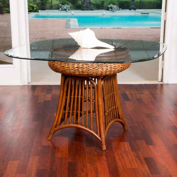Havana Dining Table with square round glass top in Sienna finish