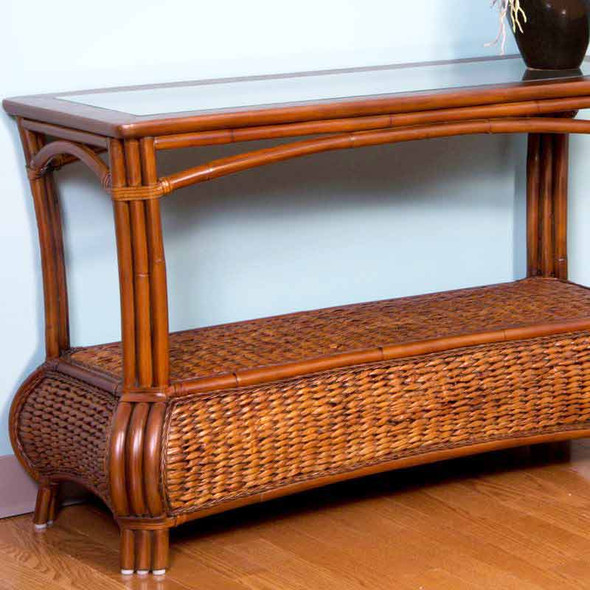Havana Sofa Table With Glass Top in Sienna finish