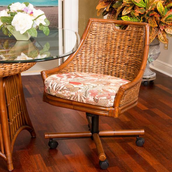 Havana Tilt Swivel Caster Chair in Antique Honey finish