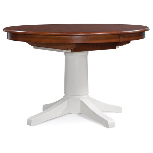 """Hues 48""""/66"""" Round Extension Dining Table with Havana finish on top and Cottage White finish on base"""