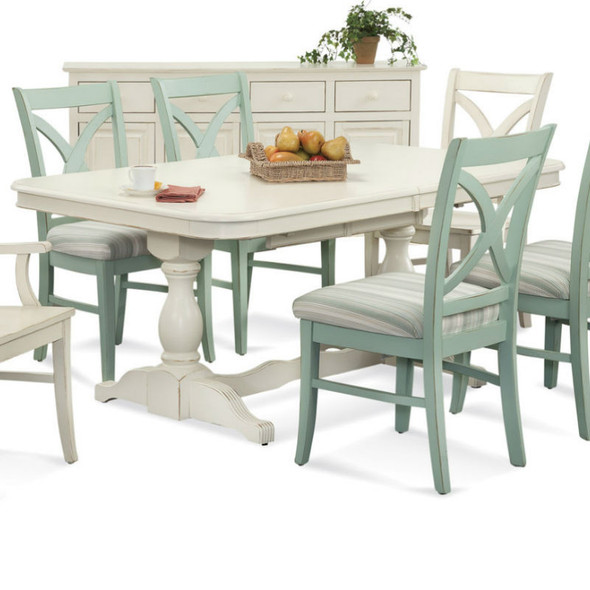 Hues Rectangular Extension Dining Table in Antique Cottage White finish
