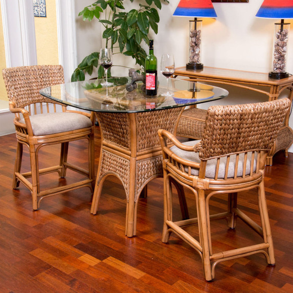 Key Largo Counter Table with Glass Top in Antique Honey finish