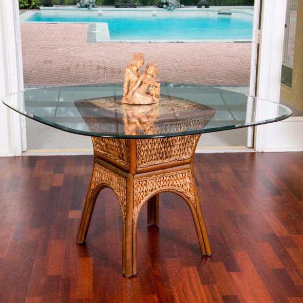 Key Largo Dining Table with Glass Top in Sienna finish
