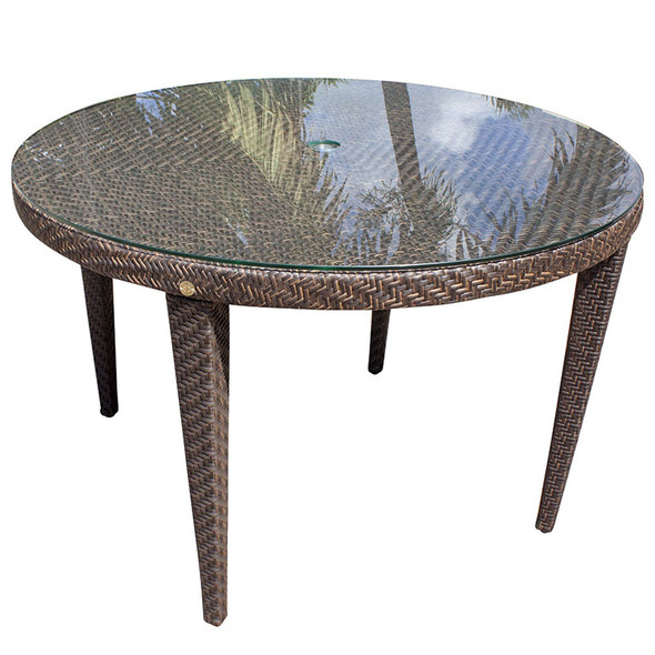 """Soho Outdoor 47"""" Round Dining Table with Glass"""