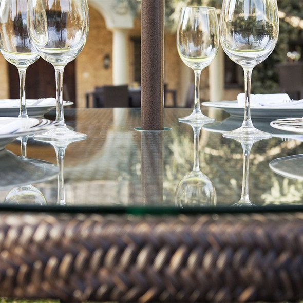 """Close-up of Soho Outdoor 47"""" Round Dining Table with Glass"""