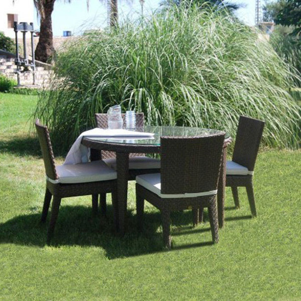 Soho Outdoor 5 piece Round Dining Set with 4 side chairs