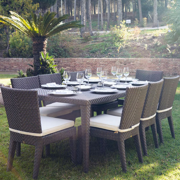 Soho Outdoor 9 piece Dining Set with side chairs