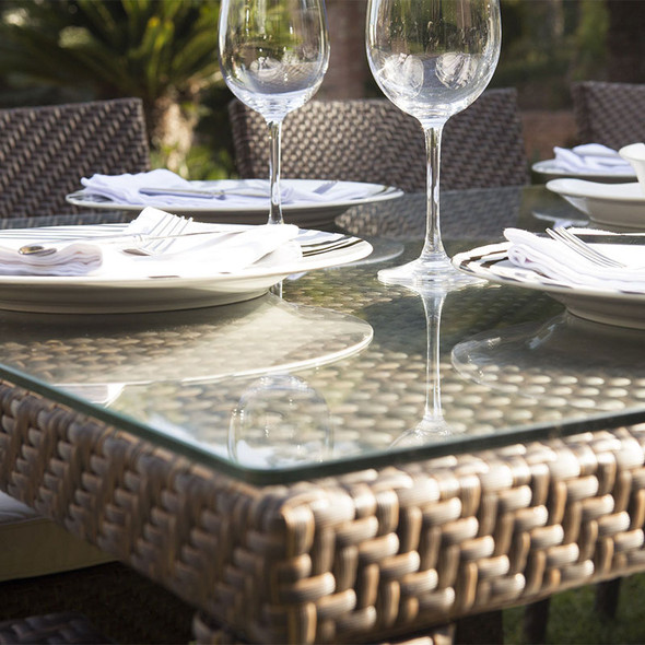 Close-up of Soho Outdoor Large Rectangular Dining Table