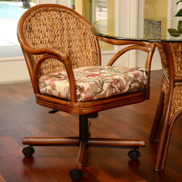 Panama Tilt Swivel Caster Chair in Sienna finish