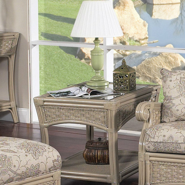 Riviera End Table With Glass Top