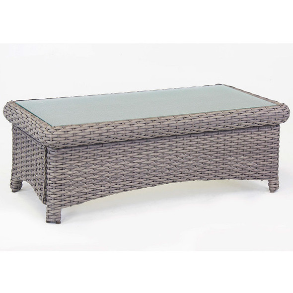 Saint Tropez Outdoor Coffee Table with Glass Top in Stone finish
