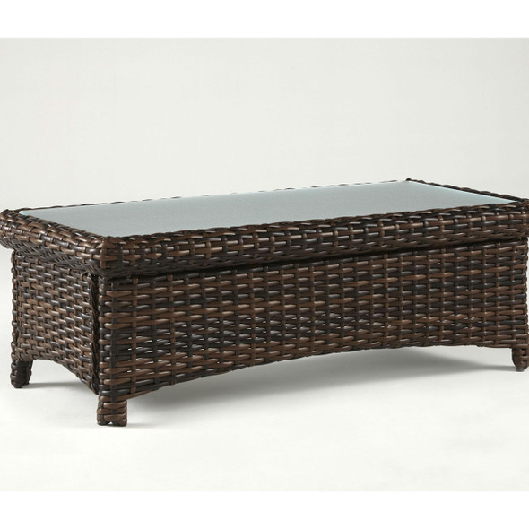 Saint Tropez Outdoor Coffee Table with Glass Top in Tobacco finish