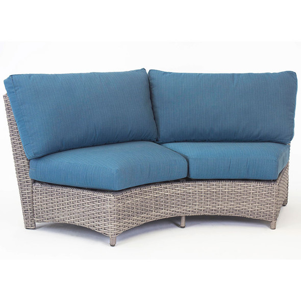 Saint Tropez Outdoor Sectional Curved Loveseat in Stone finish
