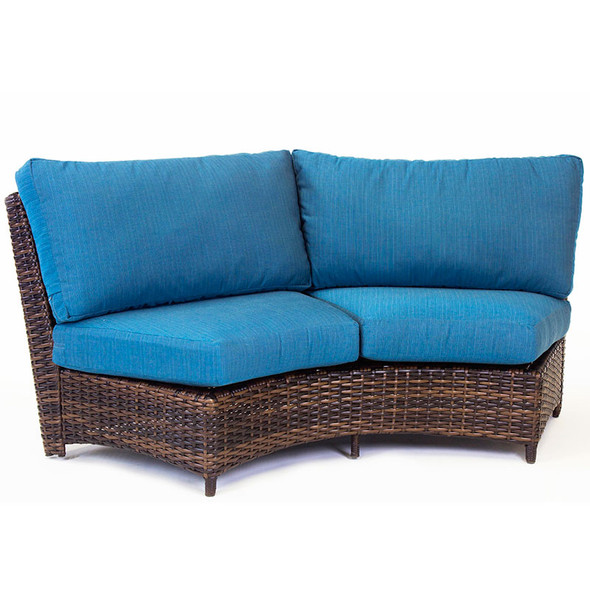 Saint Tropez Outdoor Sectional Curved Loveseat in Tobacco finish