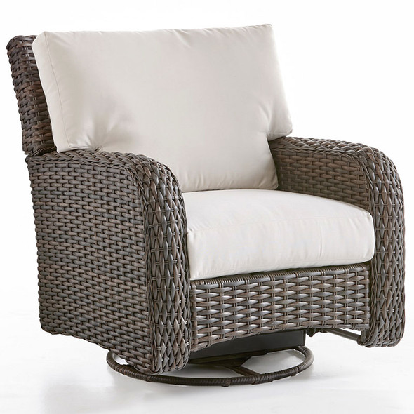 Saint Tropez Outdoor Swivel Glider in Tobacco finish and Canvas Canvas fabric