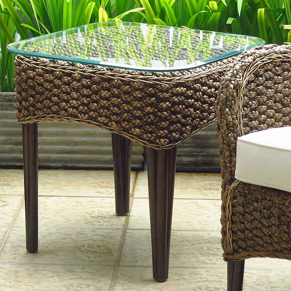 Sanibel End Table with Glass Top