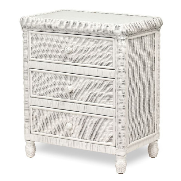 Santa Cruz 3 Drawer Chest with Glass Top in White finish