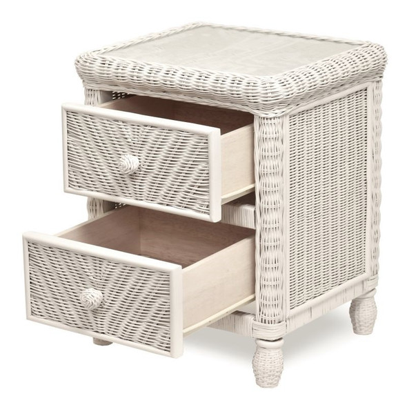 Santa Cruz 2 drawer nightstand in White finish