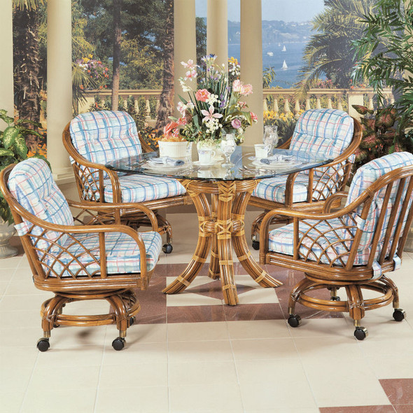 Santa Cruz 5 piece Dining Set with Caster Dining Chairs