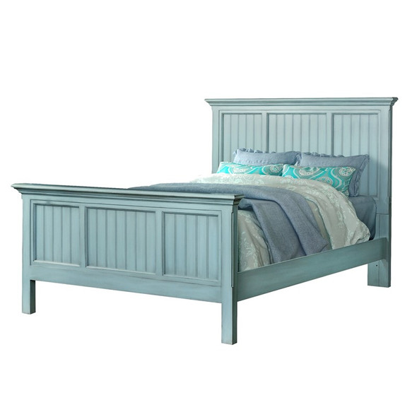 Monaco Complete Bed in a distressed bleu finish
