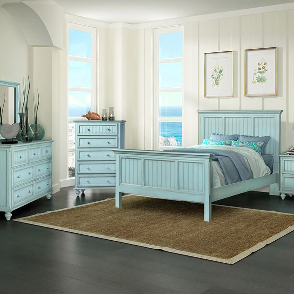 Monaco Bedroom shown in a distressed blue finish