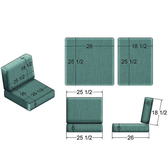 NC Replacement Cushions for Outdoor Chair/Glider/Rocker