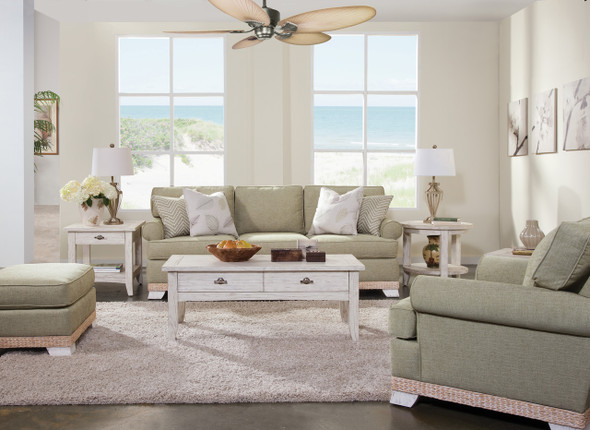 The Fairwind Loveseat is available in your choice of fabric