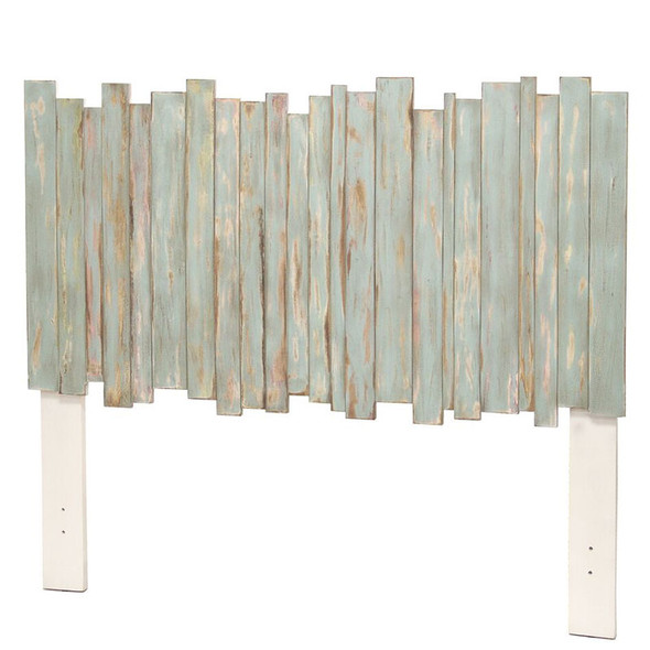 Island Breeze Picket Fence Headboard in a Distressed Bleu/White finish