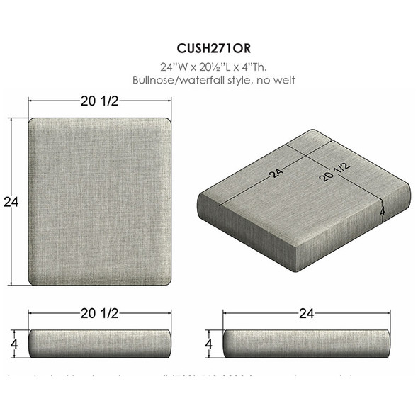NC Replacement Cushions for Outdoor Rectangular Ottoman