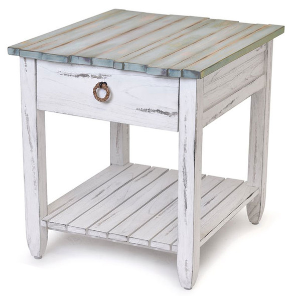 Picket Fence End Table in Distressed Bleu/White finish