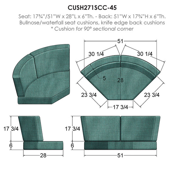 NC Replacement Cushions for Outdoor Sectional 45 Degree Corner