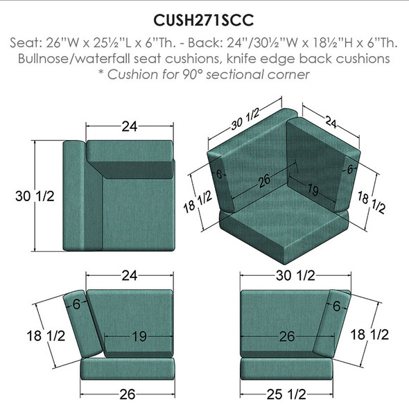 NC Replacement Cushions for Outdoor Sectional Corner