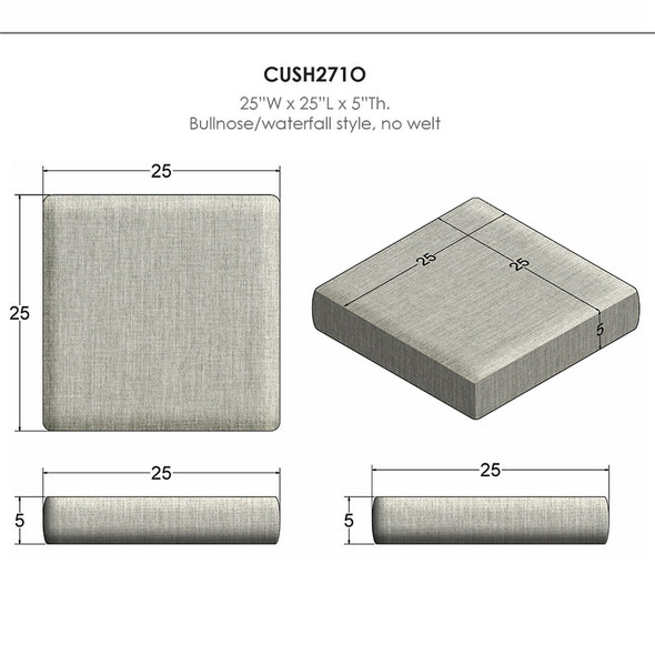 NC Replacement Cushions for Outdoor Square Ottoman