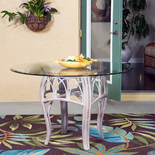"""Cuba Dining Table with 48"""" Round Glass  in Rustic Driftwood finish"""