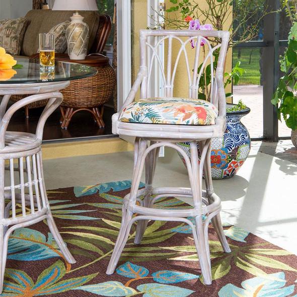 Cuba Swivel Armless Barstool in Rustic Driftwood Finish and Tuvalu Sunset fabric