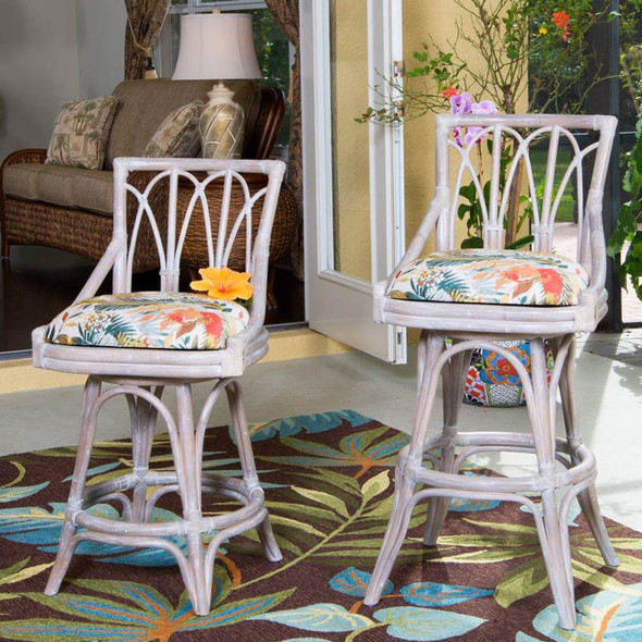 Cuba Swivel Armless Barstool/Counterstool in Rustic Driftwood Finish and Tuvalu Sunset fabric