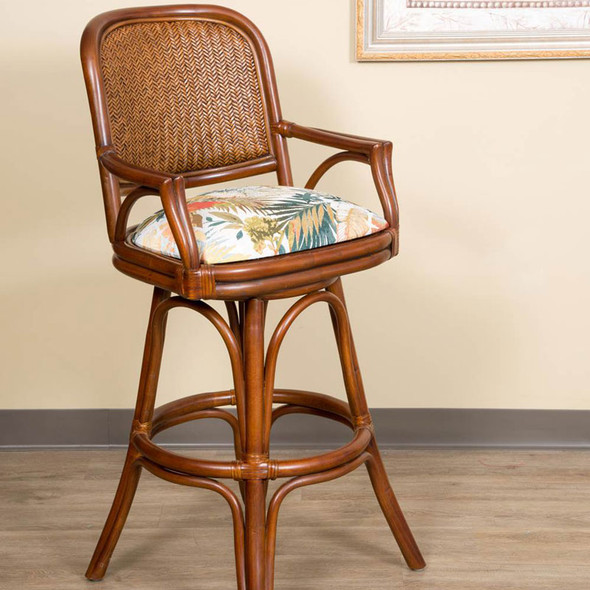 Cayman Swivel Barstool with Arm in Sienna finish