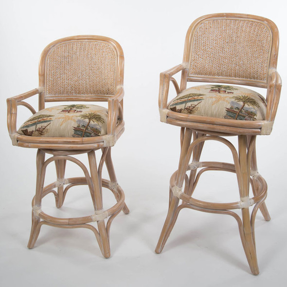 Cayman Swivel Barstool/Counterstool with Arm in Washed Linen finish