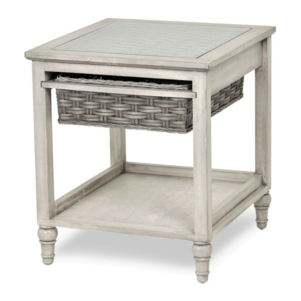Island Breeze Basket End Table in Gray/Distressed White