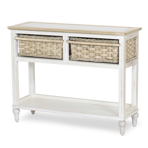 Island Breeze 2-Basket Console Table in Weathered Wood/White finish