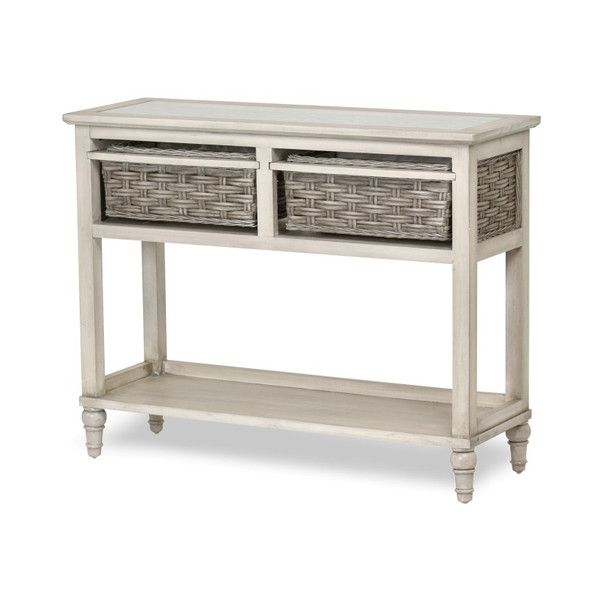 Island Breeze 2-Basket Console Table in  Gray/Distressed White finish