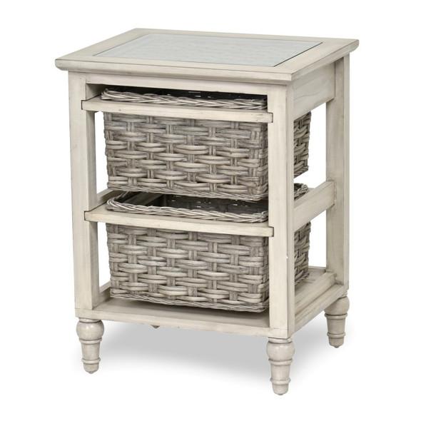Island Breeze 2-Basket Storage Cabinet in  Gray/Distressed White Finish