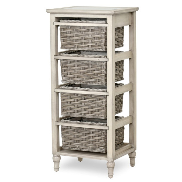 Island Breeze 4-Basket Vertical Storage Cabinet in  Gray/Distressed White finish