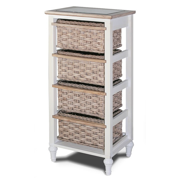 Island Breeze 4-Basket Vertical Storage Cabinet in Weathered Wood/White finish