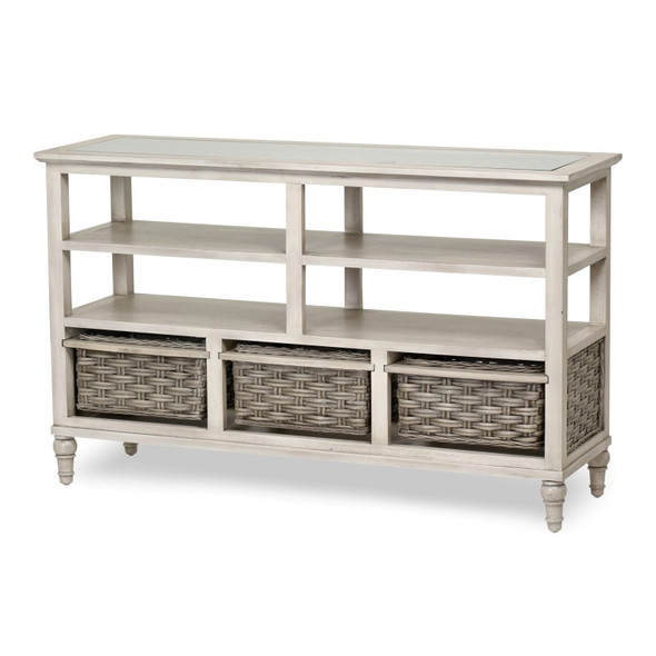 Island Breeze 3-Basket Entertainment Center in  Gray/Distressed White finish