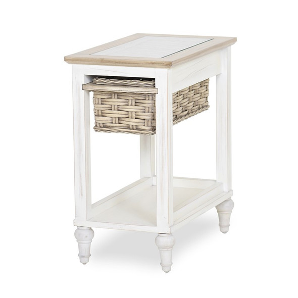 Island Breeze Chairside Table in Weathered Wood/White finish