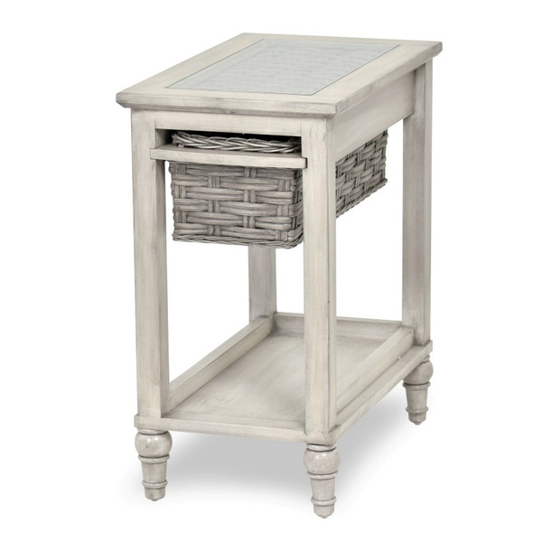 Island Breeze Chairside Table in  Gray/Distressed White finish