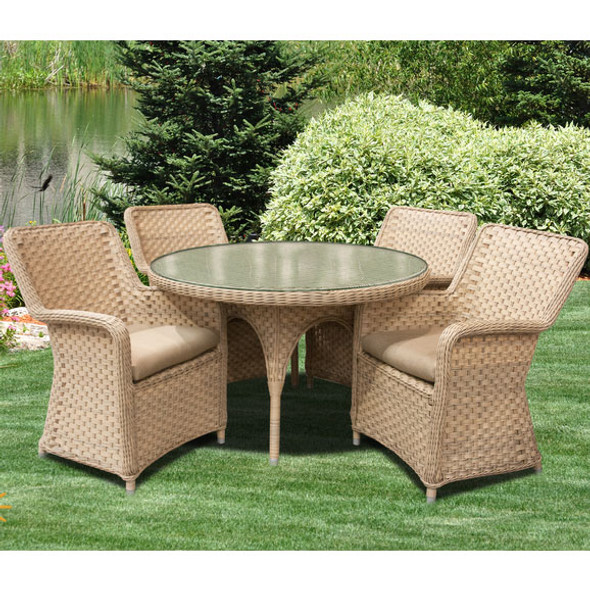 """El Dorado Outdoor 5 piece Dining Set with 4 Arm Chairs and 48"""" Round Table"""